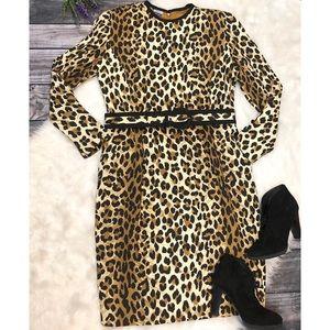 VINTAGE 90s Oleg Cassini Leopard Sheath Dress